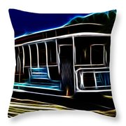 Neon Cable Car Throw Pillow