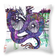 Neon Dragon In High Contrast Throw Pillow