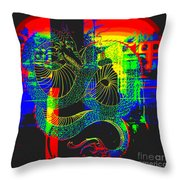 Neon Dragon Painted Throw Pillow