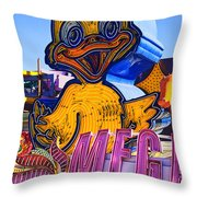 Neon Duck Throw Pillow by Garry Gay