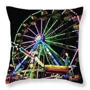Neon Ferris Wheel Throw Pillow
