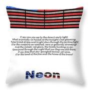 Neon Glory Throw Pillow by John Farnan