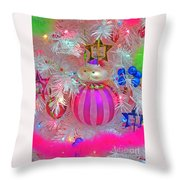 Neon Holiday Tree Throw Pillow