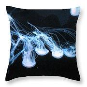 Neon Lights Of The Ocean Throw Pillow