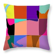 Neon Panels Cat Throw Pillow