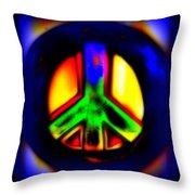 Neon Peace Throw Pillow