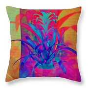 Neon Pineapple Plant - Vertical Throw Pillow