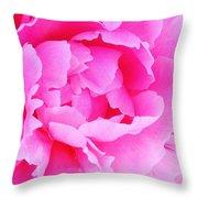 Neon Pink Peony Throw Pillow