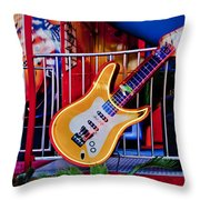 Neon Rock N Roll Throw Pillow