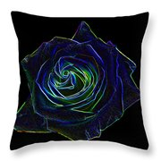 Neon Rose 5 Throw Pillow