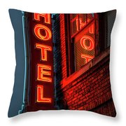 Neon Sign For Hotel In Texas Throw Pillow
