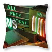 Neon Sign Throw Pillow