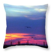 Neon Sunset Throw Pillow