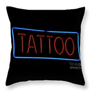 Neon Tattoo Sign Throw Pillow
