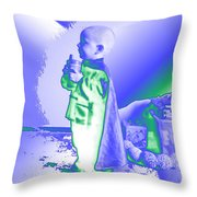 Neon Water Dragon Ninja Boy Throw Pillow