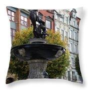 Neptune's Fountain - Gdansk Throw Pillow