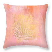 Nest- Pink And Gold Abstract Art Throw Pillow by Linda Woods