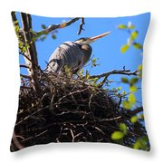 Nesting Great Blue Heron Throw Pillow