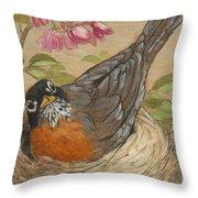 Nesting Robin Throw Pillow