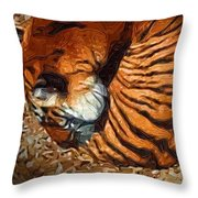 Nestled Tiger Throw Pillow