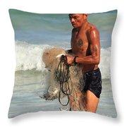 Net Fisherman In Tulum Throw Pillow