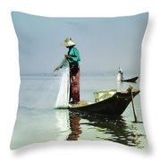 Net Fishing On Inle Lake Throw Pillow