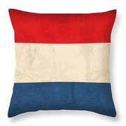 Netherlands Flag Vintage Distressed Finish Throw Pillow by Design Turnpike