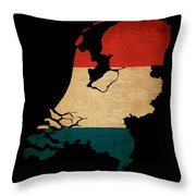 Netherlands Grunge Map Outline With Flag Throw Pillow