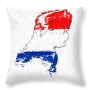 Netherlands Painted Flag Map Throw Pillow