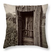 Nevada City Ghost Town Outhouse - Montana Throw Pillow