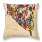 Nevada Map Vintage Watercolor Throw Pillow