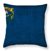 Nevada State Flag Art On Worn Canvas Throw Pillow