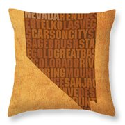 Nevada Word Art State Map On Canvas Throw Pillow