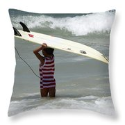 Never Too Little Never Too Big To Surf Throw Pillow