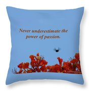 Never Underestimate The Power Of Passion Throw Pillow