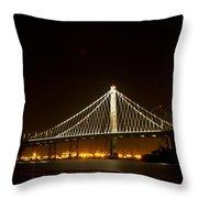 New Bay Bridge Throw Pillow by Bill Gallagher