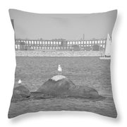 New Bedford Massachusetts Black White Throw Pillow