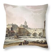 New Bridge, From Bath Illustrated Throw Pillow