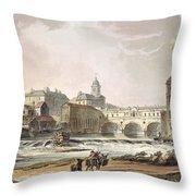 New Bridge, From Bath Illustrated Throw Pillow