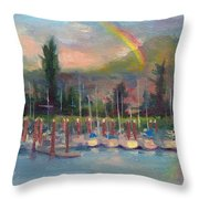 New Covenant - Rainbow Over Marina Throw Pillow