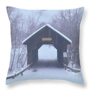 New England Covered Bridge In Winter Throw Pillow