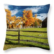 New England Farm With Autumn Sugar Throw Pillow
