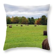 New England Hay Bales Throw Pillow