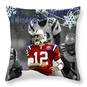 New England Patriots Christmas Card Throw Pillow