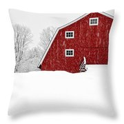 New England Red Barn In Winter Snow Storm Throw Pillow