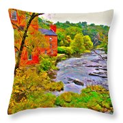 New England Stream In Fall Throw Pillow