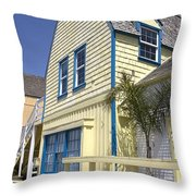 New England Style Building At Fisherman's Village Marina Del Rey Los Angeles Throw Pillow