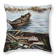 New England Wharf Throw Pillow