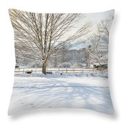 New England Winter Throw Pillow