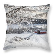 New England Winter Farms Throw Pillow